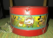 Walt Disneyand039s Mickey Mouse Toy Drum Ohio Art 1930and039s Fabric Heads Band