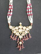 Vintage Antique Solid 20k Gold Jewelry Diamond Polki Ruby Pearl Necklace Pendant