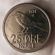 1971 Norway 25 Ore - Bird Series - Excellent - Free Shipping - Norway Bin A
