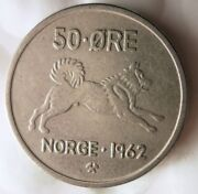 1962 Norway 50 Ore - Elkhound Series - Excellent - Free Shipping - Norway Bin A
