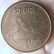 1969 Norway 50 Ore - Elkhound Series - Excellent - Free Shipping - Norway Bin A