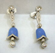 Faberge 18k Enamel And Diamond Blue Bell Earrings Limited Edition 11/500