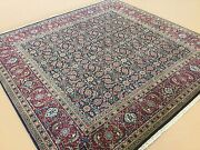 5and039.9 X 6and039.0 Square Navy Blue Red Fine Geometric Oriental Area Rug Hand Knotted