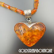 Unique Sterling Silver Huge Baltic Amber Heart Beaded Necklace 22