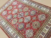 5and039.10 X 8and039.6 Red Beige Very Fine Geometric Oriental Rug Hand Knotted Wool
