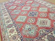 5and039.9 X 8and039.10 Red Beige Fine Geometric Oriental Area Rug Hand Knotted Wool
