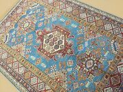 5and039.0 X 6and039.11 Light Blue Red Very Fine Geometric Oriental Rug Hand Knotted Wool