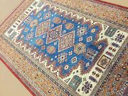 5and039.10 X 8and039.8 Light Blue Navy Fine Geometric Oriental Area Rug Hand Knotted