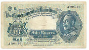 Mauritius P20 5 Rupees 1930 Currency Money Banknote Serie A King George V