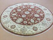 7and039.11 X 8and039.0 Round Rust Beige Classic Ziegler Oriental Rug Hand Knotted Wool