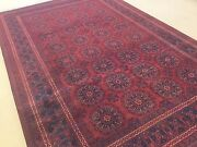6'.7 X 9'.11 Red Navy Blue Geometric Oriental Area Rug Hand Knotted Wool Foyer
