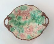 19th C. English Majolica 10.5 Begonia Floral And Leaf Tray, Self Handles