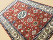 6and039.2 X 9and039.0 Rust Beige Fine Geometric Medallion Oriental Rug Hand Knotted Wool