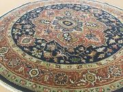 6and039 X 6and039 Round Navy Blue Rust Fine Geometric Oriental Rug Hand Knotted Wool Foyer