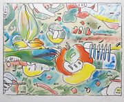 Peter Max Abstract Flowers Signed Original Art Lithograph
