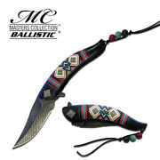 8.5 Native American Indian Spring Assisted Open Pocket Knife Damascus Feather