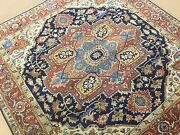 6and039 X 6and039 Square Navy Blue Rust Fine Quality Geometric Oriental Rug Hand Knotted