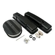 Sbc Chevy 350 Black Finned Short Polished Aluminum Valve Covers And Air Cleaner