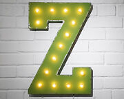 21 Letter Z Plug-in Or Battery Led Rustic Vintage Metal Marquee Light Up Sign