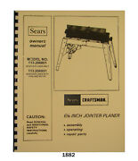 Sears Craftsman 6 Jointer 113.206801 And 113.206931 Op And Parts List Manual 1882