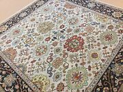 8' X 8' Square Beige Navy Blue Fine Geometric Oriental Rug Hand Knotted Wool