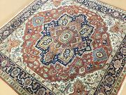 6and039 X 6and039 Square Rust Navy Blue Fine Geometric Oriental Rug Handknotted Wool Foyer