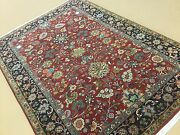 6and039.2 X 8and039.10 Red Navy Blue Fine Traditional Oriental Area Rug Handknotted Wool