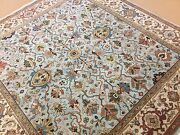 8' X 8' Square Light Blue Beige Fine Geometric Oriental Rug Hand Knotted Foyer