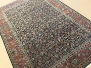 6and039.1 X 9and039.0 Navy Blue Rust Fine Geometric Oriental Area Rug Hand Knotted Wool