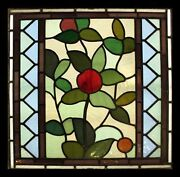 Stunning Art Nouveau Antique English Leafy Stained Glass Window