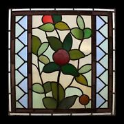 Stunning Art Nouveau Antique English Leaf And Fruits Stained Glass Window