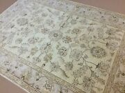 6'.1 X 8'.6 Yellow Beige Oushak Oriental Area Rug Hand Knotted Wool Foyer