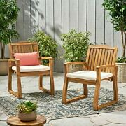 Tampa Teak Finish Acacia Wood Outdoors Dining Chairs Set Of 2