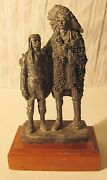 1983 Michael Ricker Pewter Statue Native American Indian Chief And Boy Rare