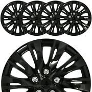 15 Set Of 4 Black Wheel Covers Snap On Full Hub Caps Fit R15 Tire And Steel Rim
