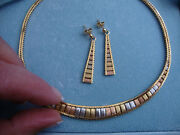 Vintage 14k Yellow White Rose Gold Necklace And Earrings From Italy 29.1 Grams