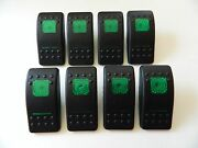 New Set Of 8 Carling Actuator / Rocker Switch Covers Black W/ 2 Green Lens Lot