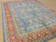 8and039.0 X 10and039.6 Light Blue Fine Geometric Oriental Area Rug Hand Knotted Wool