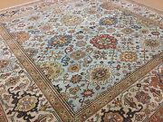 7and039.9 X 7and039.9 Light Blue Beige Very Fine Geometric Oriental Rug Hand Knotted