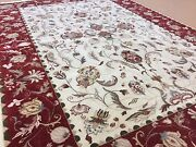 6' X 9' Beige Red Oriental Area Rug Floral Agra Hand Knotted Wool All-over Foyer