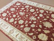 7and039.0 X 10and039.2 Red Beige Traditional Ziegler Oriental Area Rug Hand Knotted Wool