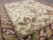8and039.1 X 9and039.11 Beige Red Floral William Morris Oriental Rug Hand Knotted Wool
