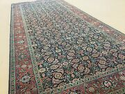 4and039.4 X 9and039.10 Navy Rust Fine Geometric Oriental Rug Wide Runner Hand Knotted