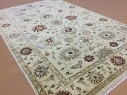 6and039.1 X 9and039.1 Beige Rust Ziegler All-over Oriental Area Rug Hand Knotted Wool