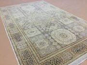 6and039.0 X 9and039.4 Beige Brown Fine Geometric Oriental Area Rug Hand Knotted Wool
