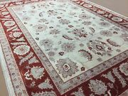 7and039.11 X 10and039.3 Beige Red Oushak Oriental Area Wool Rug Handmade All-over Foyer