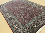 5and039.0 X 7and039.11 Red Navy Blue Fine Geometric Oriental Area Rug Hand Knotted Wool