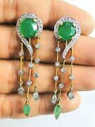 Victorian Diamond And Emerald 14k Gold Silver Jewelry Earring Pair India