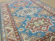 5and039.6 X 7and039.10 Blue Red Very Fine Geometric Oriental Area Rug Hand Knotted Wool