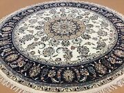 6and039.1 X 6and039.1 Round Ivory Blue Fine Floral Oriental Rug Hand Knotted Wool And Silk